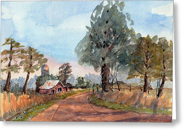 Loose Greeting Cards - Dirt Road Farm - Watercolor Greeting Card by Barry Jones
