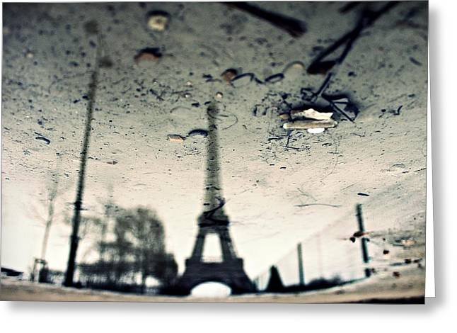 Puddle Greeting Cards - Dirty Eiffel - 1x - No Words - Yearbook Greeting Card by Pessoa N Beat
