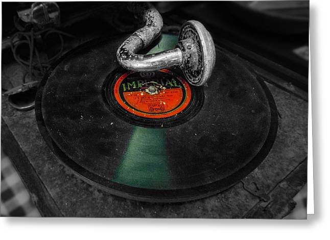 70s Music Greeting Cards - Dirty Gramophone Greeting Card by Felikss Veilands