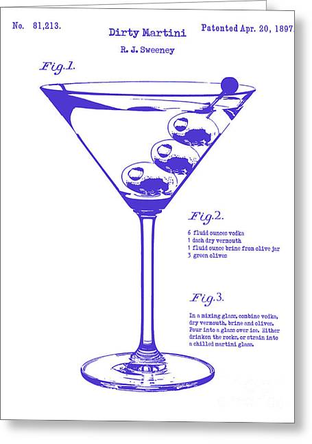 Martini Greeting Cards - Dirty Martini Blueprint Greeting Card by Jon Neidert