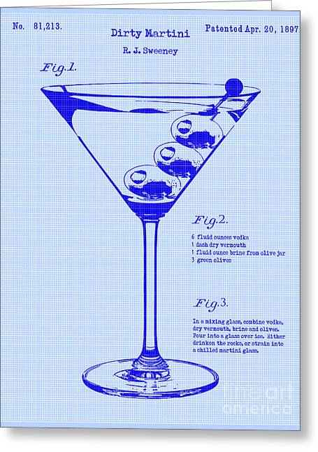 Martini Greeting Cards - Dirty Martini Patent Greeting Card by Jon Neidert