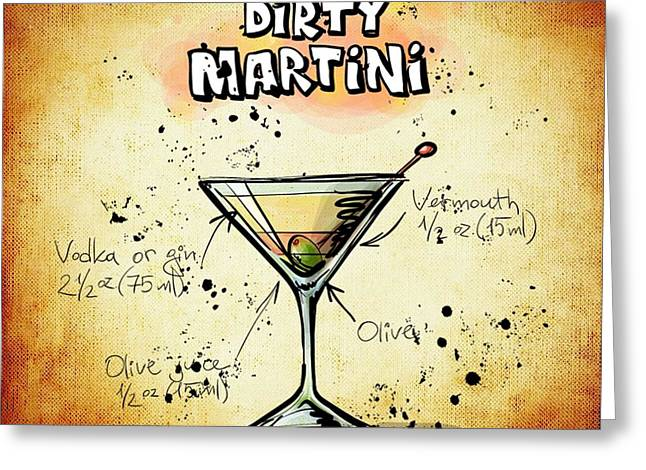 Bartender Drawings Greeting Cards - Dirty Martini Recipe Greeting Card by Alexas Fotos