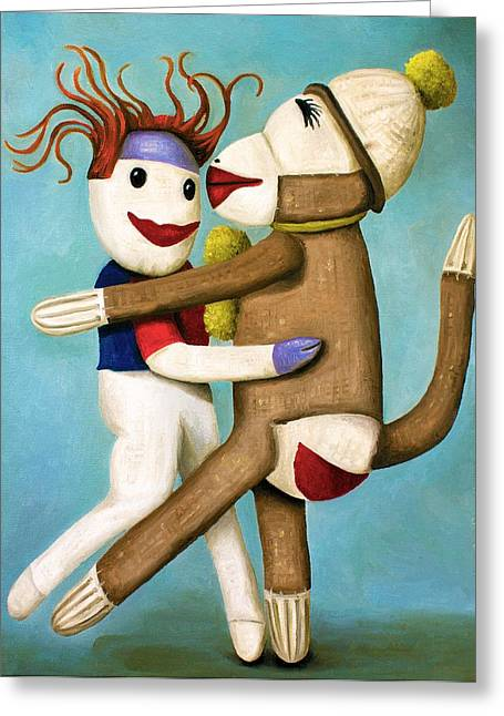 Sock Greeting Cards - Dirty Socks Dancing The Tango Greeting Card by Leah Saulnier The Painting Maniac