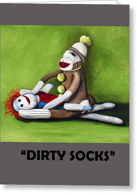 Dirty Socks With Lettering Greeting Card by Leah Saulnier The Painting Maniac