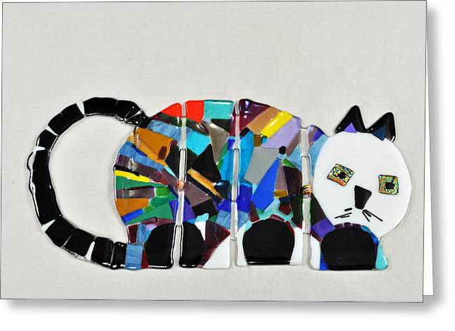 Pet Glass Art Greeting Cards - Dis-articulated Cat Greeting Card by Marilyn Catlow