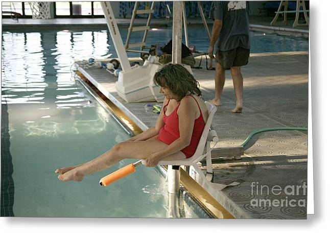 Handicap Greeting Cards - Disabled Woman Enters Pool Greeting Card by Inga Spence