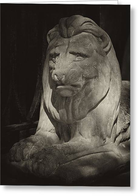 Disapproving Stone Lion Greeting Card by Robert Ullmann