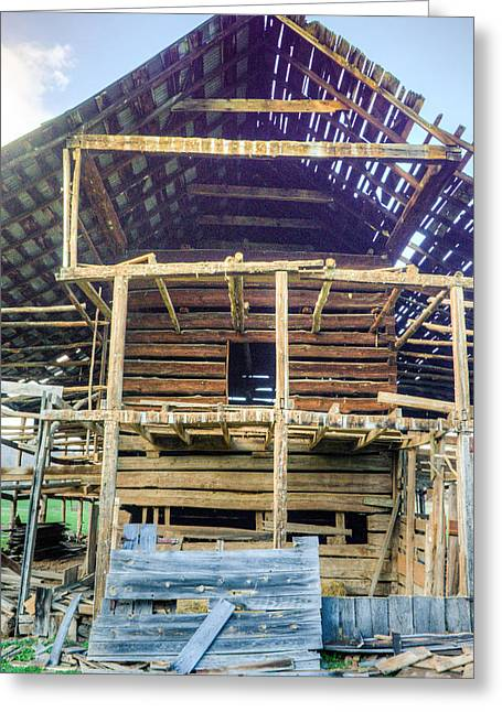 Tin Roof Greeting Cards - Disassembling of a Barn Constructed in Early 1900s Greeting Card by Douglas Barnett