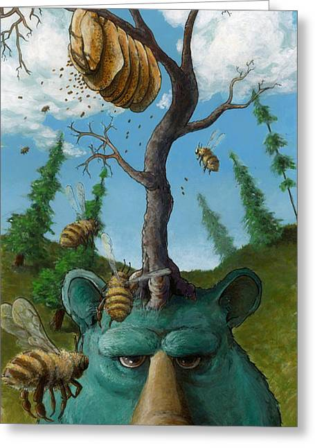 Hive Greeting Cards - Disavowing Bear Greeting Card by Richardson Comly