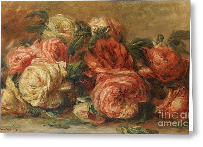 Drop Greeting Cards - Discarded Roses  Greeting Card by Pierre Auguste Renoir