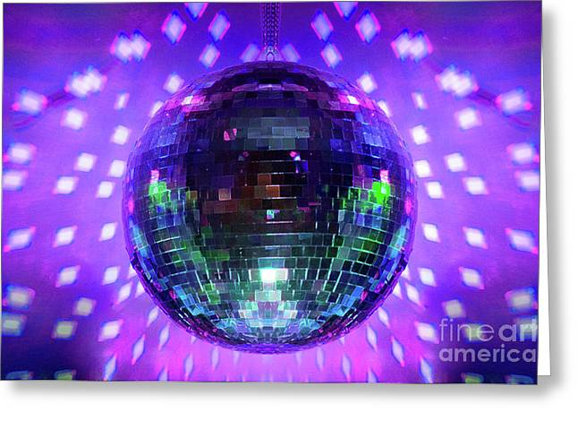 Disco Greeting Cards - Disco Ball Purple Greeting Card by Andee Design