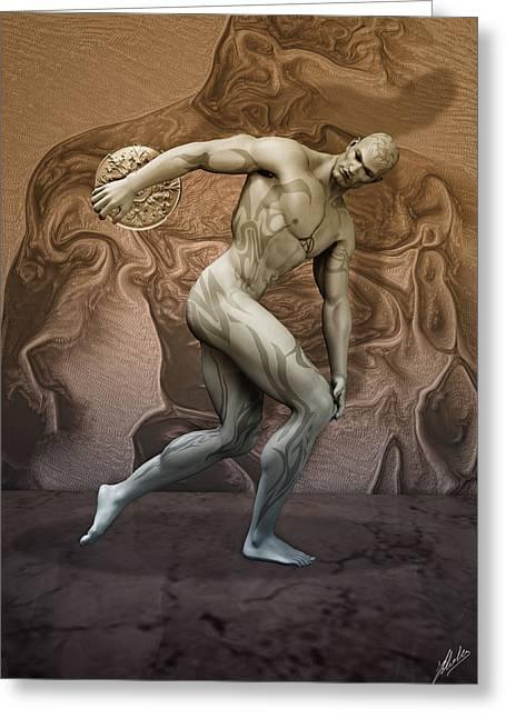 Muscular Digital Art Greeting Cards - Discobolus tattooed Greeting Card by Joaquin Abella