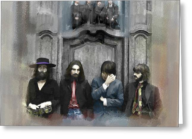 The Beatles Images Greeting Cards - Discontent IV The Beatles Greeting Card by Iconic Images Art Gallery David Pucciarelli