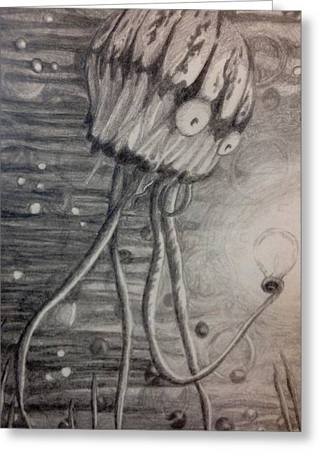 Jelly Fish Drawings Greeting Cards - Discovery Greeting Card by Kimberly Schwarzkopf
