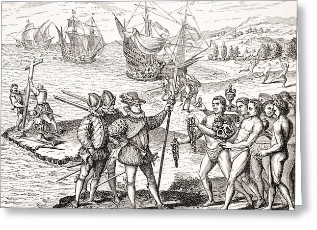 Apparel Drawings Greeting Cards - Discovery Of America,12th Of May,1492 Greeting Card by Ken Welsh