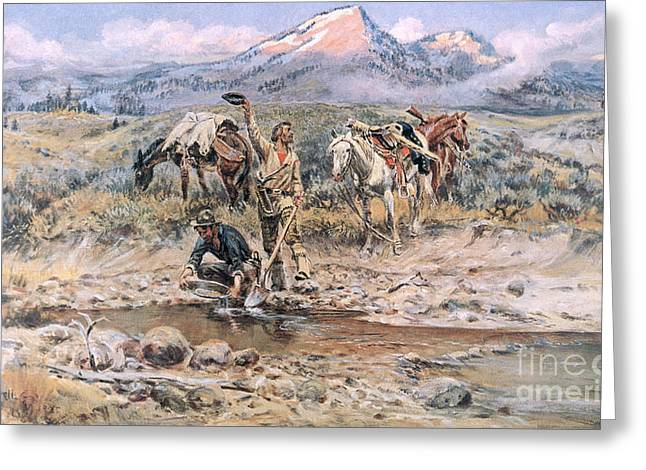 Discovery Of Last Chance Gulch Montana Greeting Card by Charles Marion Russell