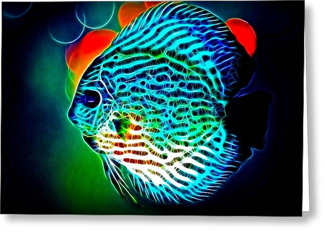 Decorative Fish Greeting Cards - Discus Greeting Card by Alexey Bazhan