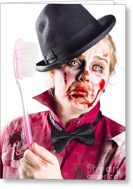 Diseased Woman With Big Toothbrush Greeting Card by Jorgo Photography - Wall Art Gallery