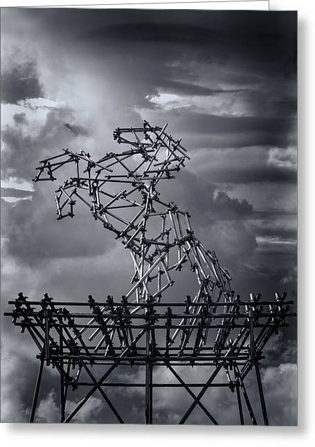Installation Art Greeting Cards - Dismaland Steel Horse Greeting Card by Jason Green