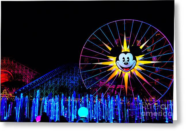 Animate Greeting Cards - Disney California Adventure Mickeys Fun Wheel Greeting Card by Peter Dang