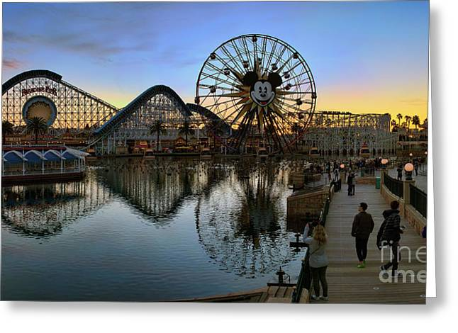 Disney California Adventure Panorama Greeting Card by Eddie Yerkish