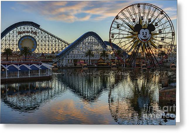Disney California Adventure Reflections Greeting Card by Eddie Yerkish