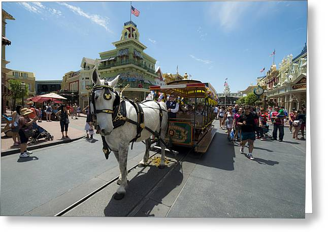 Main Street Greeting Cards - Disney horse and carriage Greeting Card by Kevin Cable