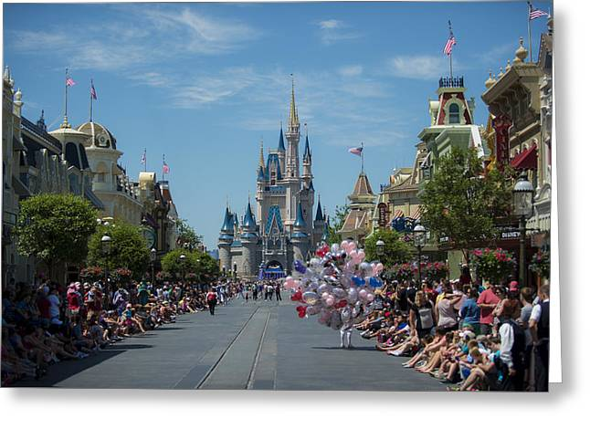 Main Street Greeting Cards - Disney Mainstreet Greeting Card by Kevin Cable