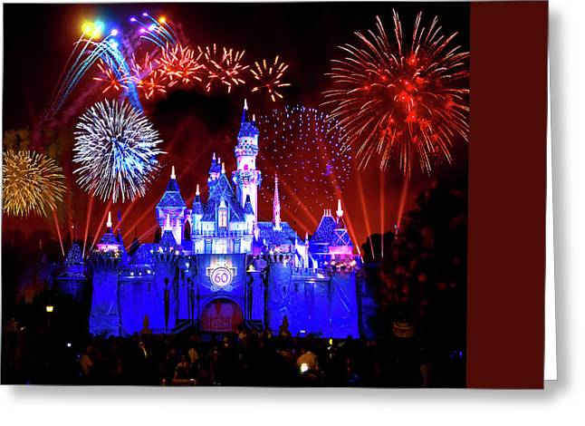 Beauty Mark Greeting Cards - Disneyland 60th Anniversary Fireworks Greeting Card by Mark Andrew Thomas