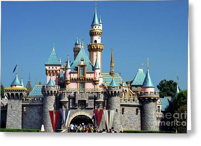 Running Princess Greeting Cards - Disneyland Castle Greeting Card by Mariola Bitner