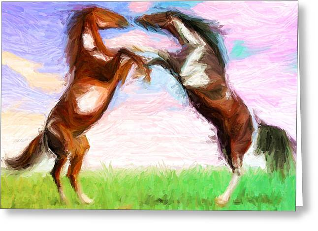 Equine Art Work Greeting Cards - Dispute Greeting Card by Caito Junqueira