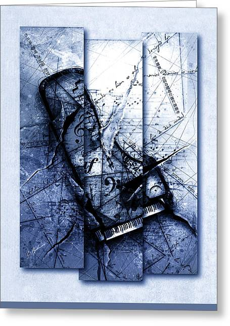 Beethoven Greeting Cards - Dissonance In Blue Greeting Card by Gary Bodnar
