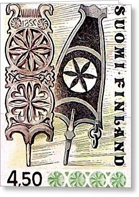 Distaff Greeting Cards - Distaff wood carving Greeting Card by Lanjee Chee