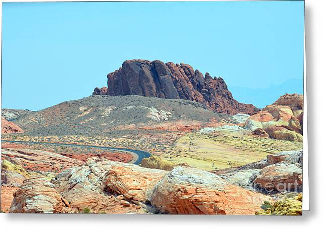 Boulders Tapestries - Textiles Greeting Cards - Distance Road Greeting Card by Edna Weber