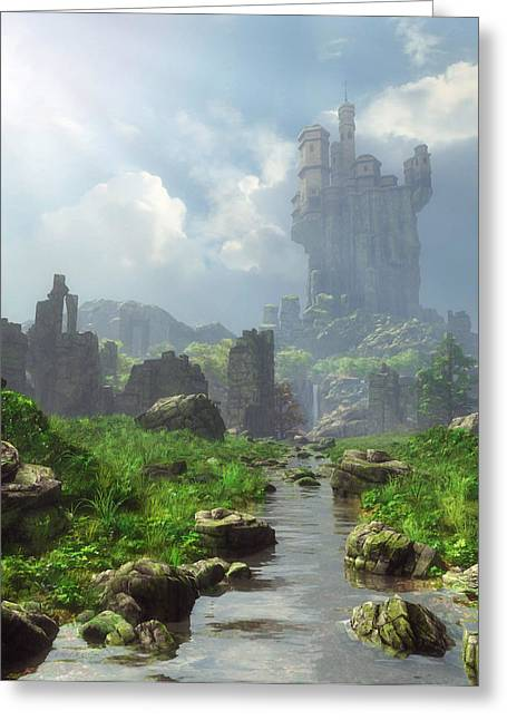 Stream Digital Greeting Cards - Distant Castle Greeting Card by Cynthia Decker
