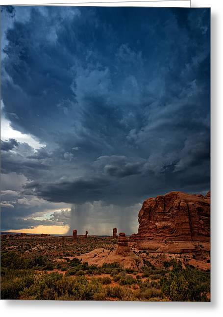 Storm Clouds Greeting Cards - Distant Desert Storm Greeting Card by Rick Berk
