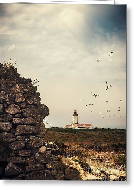 Distant Lighthouse Greeting Card by Carlos Caetano