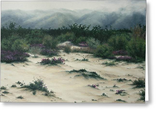 Print On Canvas Greeting Cards - Distant Mist Greeting Card by Mary Taglieri