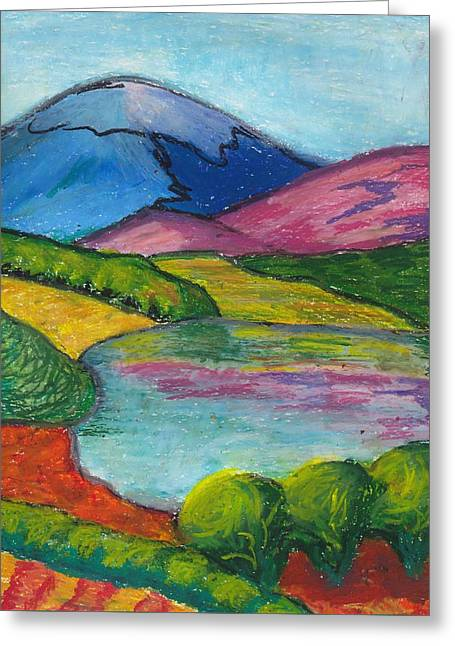Mountain Valley Pastels Greeting Cards - Serene Lake and Distant Mountains Greeting Card by Darya Tyshlek