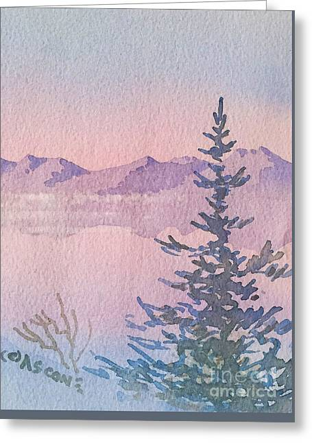 Panoramic Ocean Greeting Cards - Distant Mountains Greeting Card by Teresa Ascone