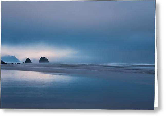 Monolith Greeting Cards - Distant Sea Stacks Greeting Card by Don Schwartz