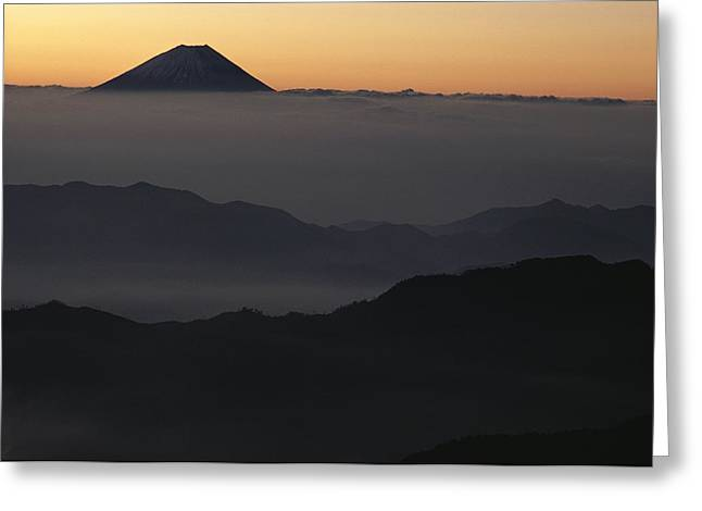 Honshu Greeting Cards - Distant View Of Mount Fuji Silhouetted Greeting Card by George F. Mobley