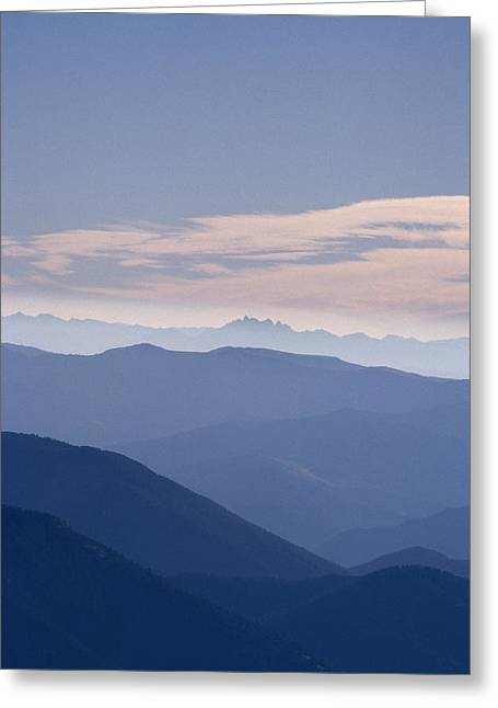 Silouette Greeting Cards - Distant View Of Wyomings Teton Greeting Card by Gordon Wiltsie