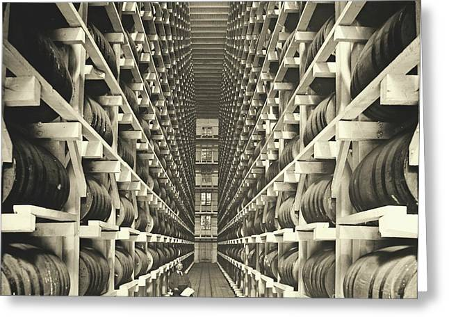 Padre Art Greeting Cards - Distillery Barrel Racks 1905 Greeting Card by Padre Art