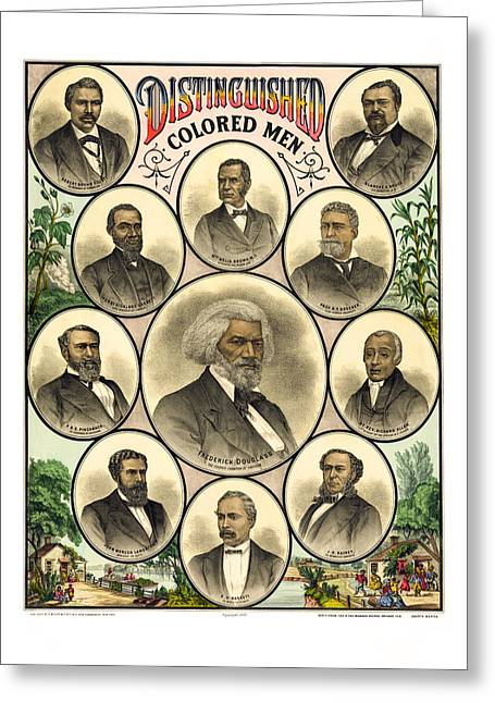 Slavery Greeting Cards - Distinguished Colored Men   1883 Greeting Card by Daniel Hagerman