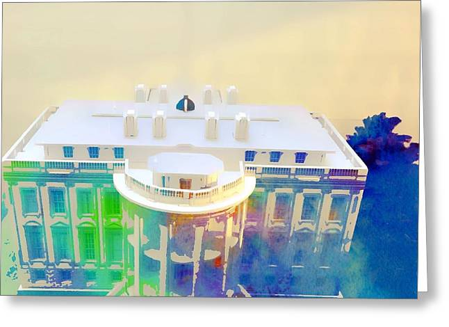 Usa Digital Art Greeting Cards - Distorted White House Greeting Card by Nissy G