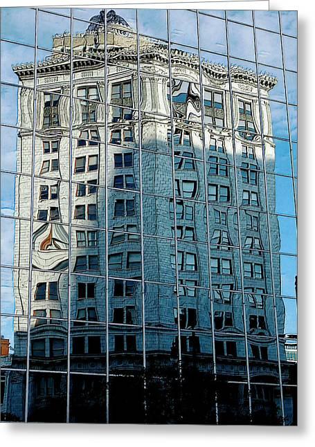 Morph Greeting Cards - Distorted windows Greeting Card by David Rothbart