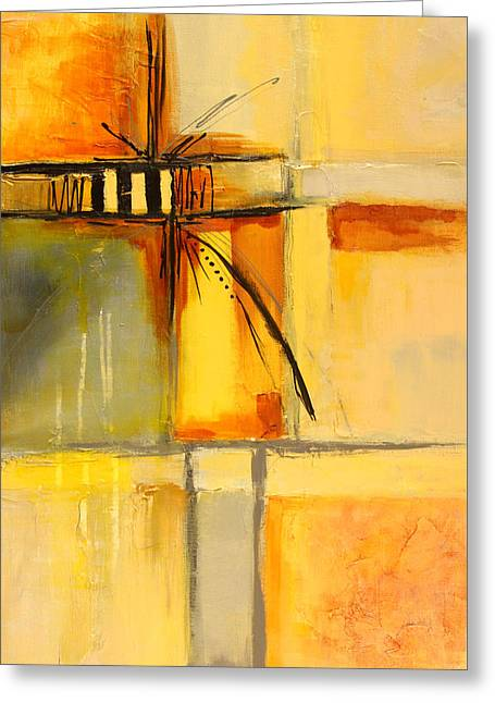 Dribble Greeting Cards - Distractions 1 Abstract Painting Greeting Card by Nancy Merkle