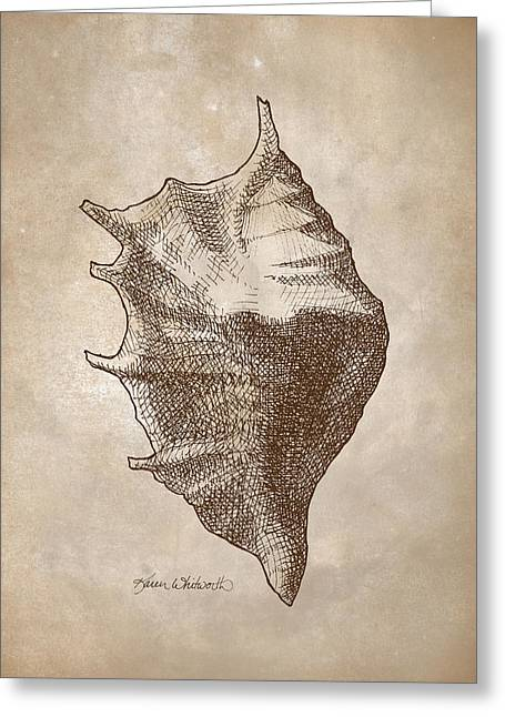 Seashell Drawings Greeting Cards - Distressed Antique Nautical Seashell 1  Greeting Card by Karen Whitworth