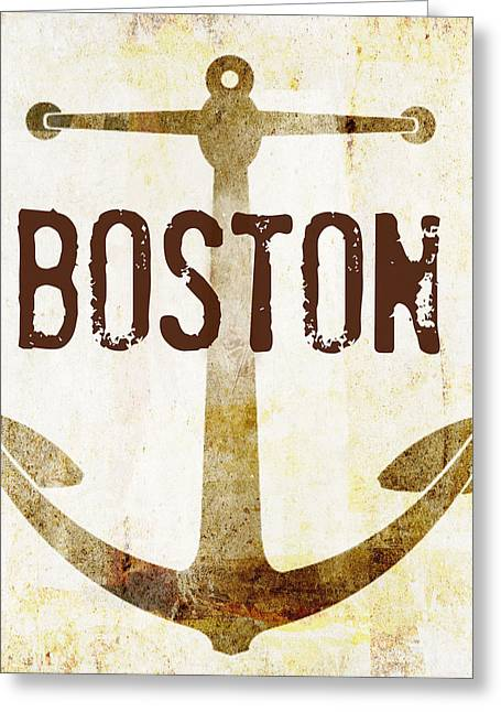 Distressed Boston Anchor Greeting Card by Brandi Fitzgerald